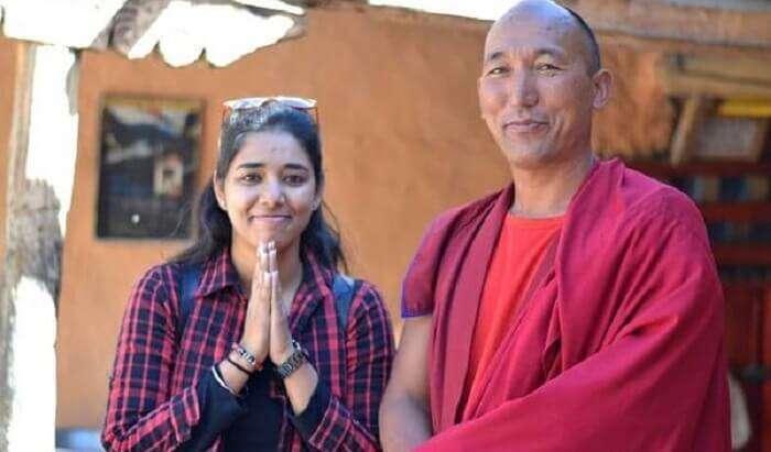 with a monk in tabo monastrey