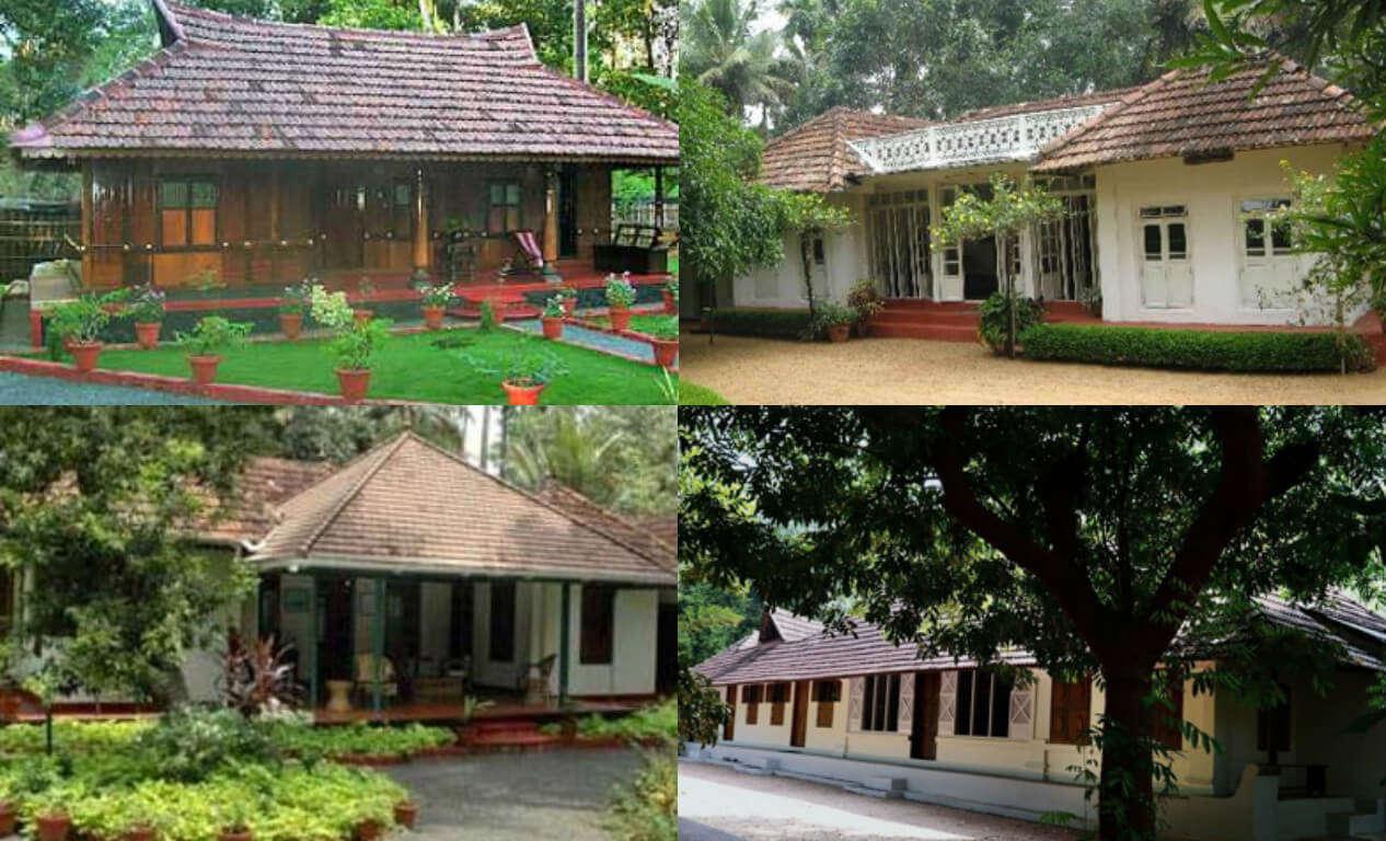 Various accommodation options at the Aymanam Village Resort in Kumarakom