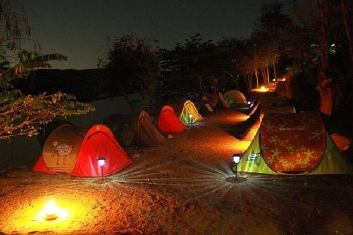 A night shot of a camp in Manchinbele near Bangalore