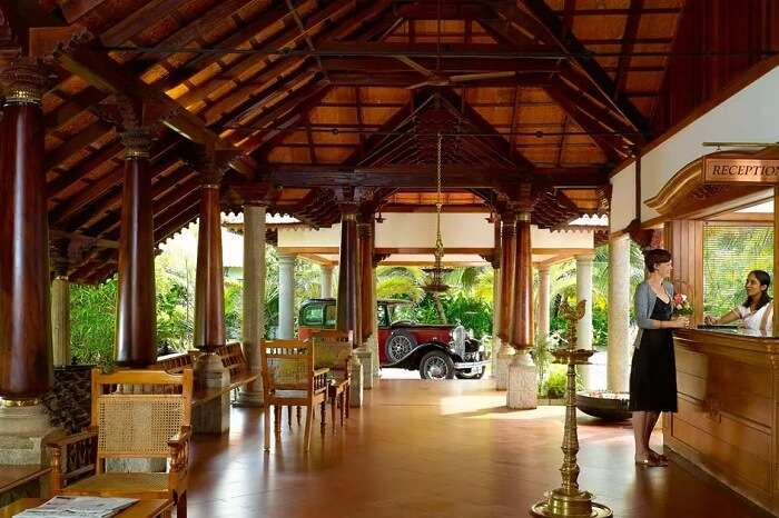 A shot of the lobby of Backwater Ripples in Kumarakom