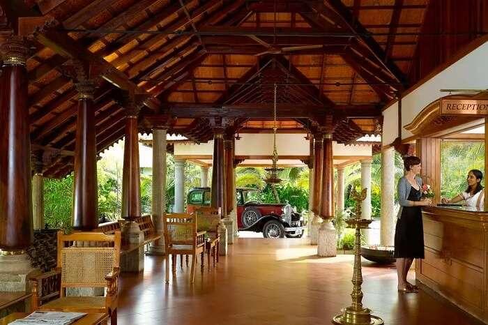 A shot of the lobby of Backwater Ripples in Kumarakom