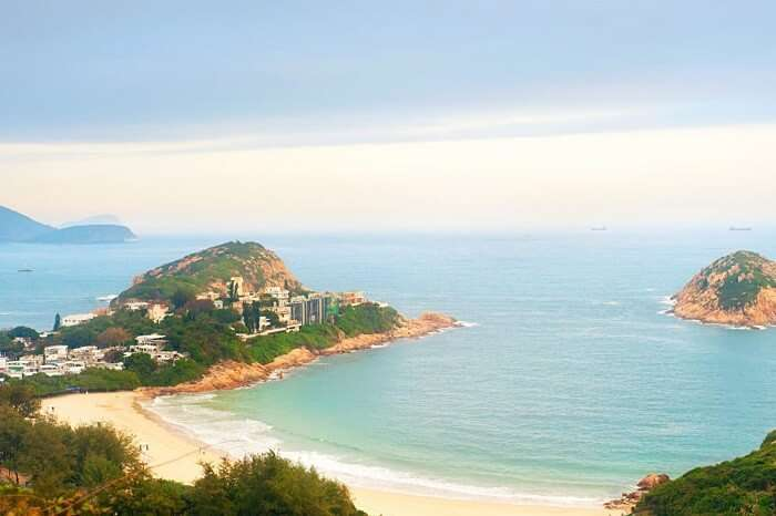 An aerial view of the Shek o Beach in Hong Kong