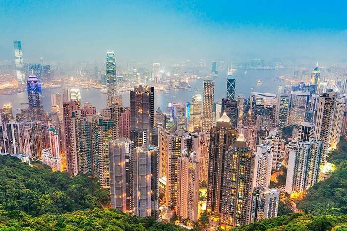 A view of the Hong Kong city from The Peak