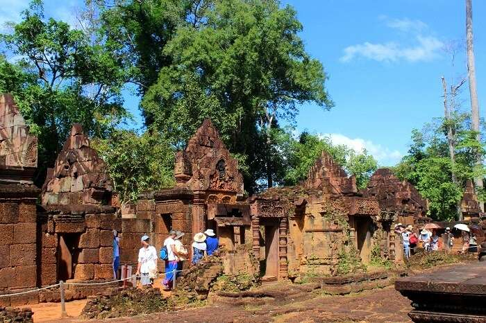 Travelers doing sightseeing in Cambodia