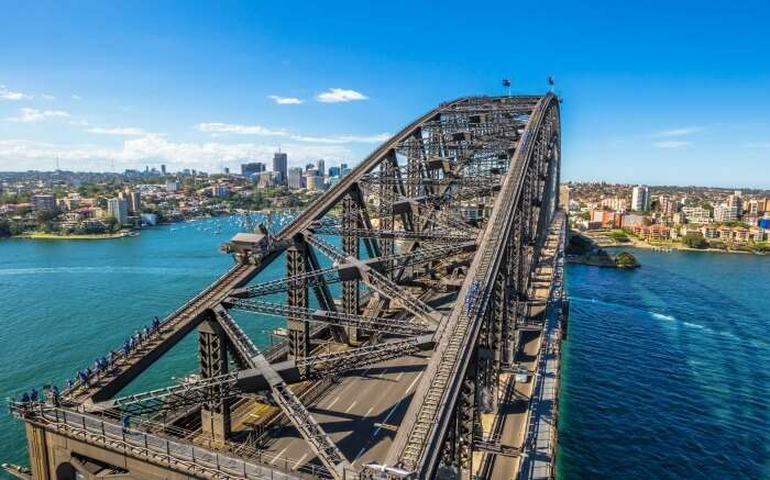 Participants trying bridge climb in Sydney