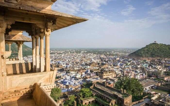 A view of Bundi city from Bundi's Palace
