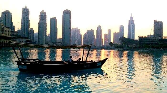 A beautiful sunset on the Dubai Harbor