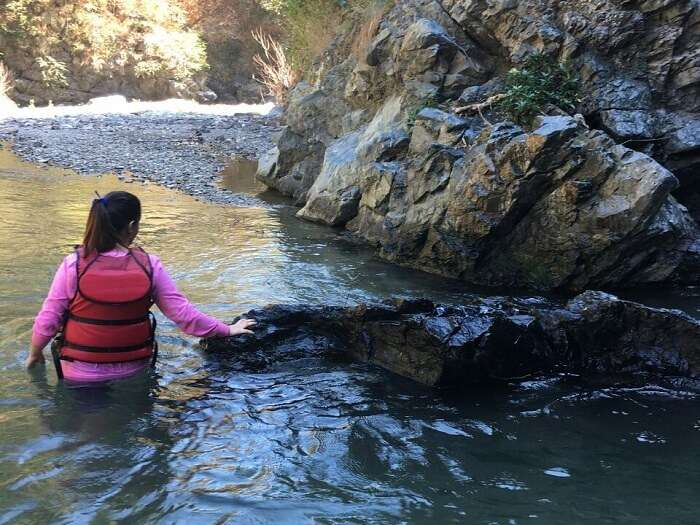 Tanisha in the water while cliff jumping