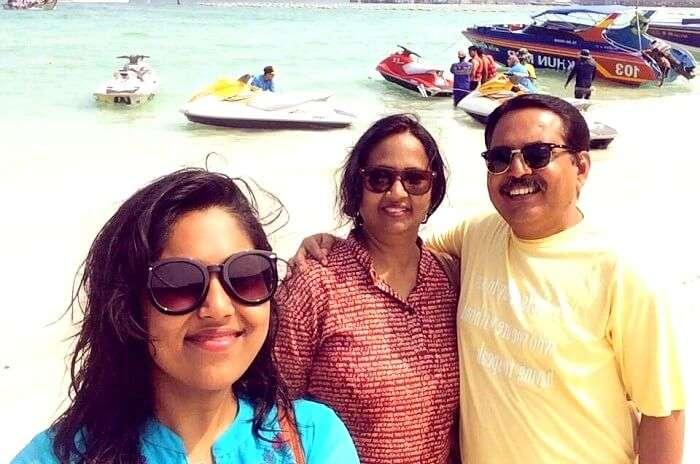 Alok and his family at Coral Island