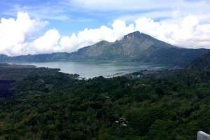 Mount Batur and batur lake in the foreground