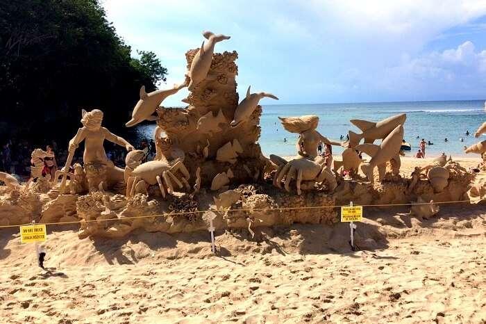 Wonderful artwork on a beach in Bali