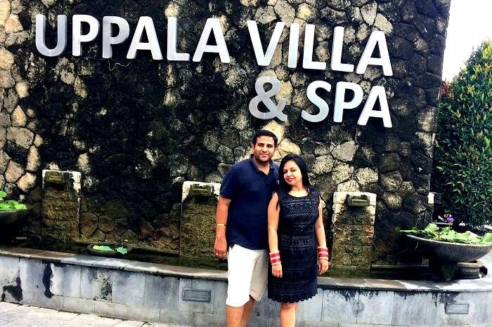 Taruna and her husband in Kuta