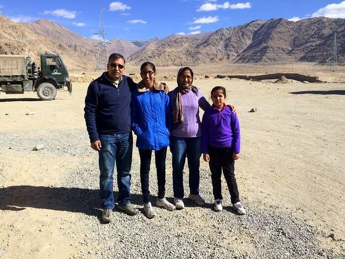 Manish and his family sightseeing in Ladakh