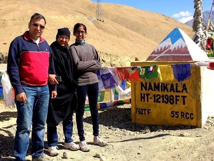 Manisha and his family at Namik La Ladakh