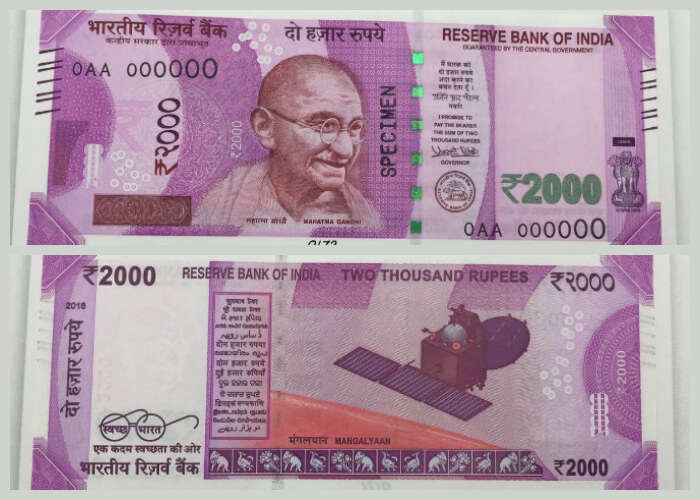 The front and back side of the new INR 2000 note