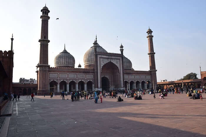 Muslims gathering at the Jama Masjid in Delhi for the Friday namaaz