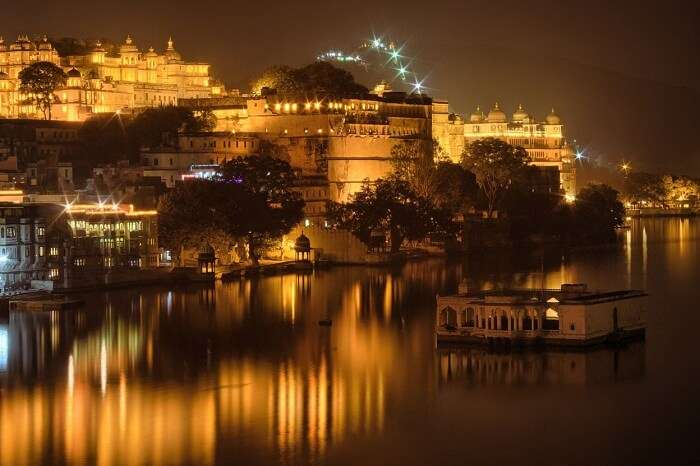 A night shot of the Lake Palace in Udaipur