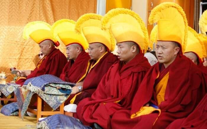 Tibetan monks during a ritual