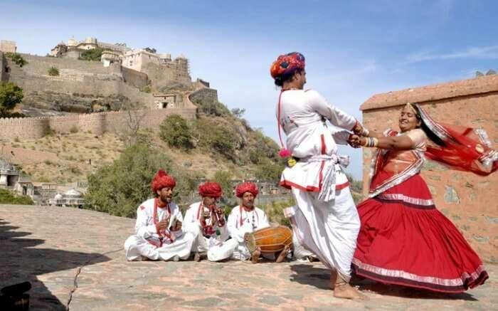 Folk artists performing during the Kumbhalgarh Festival
