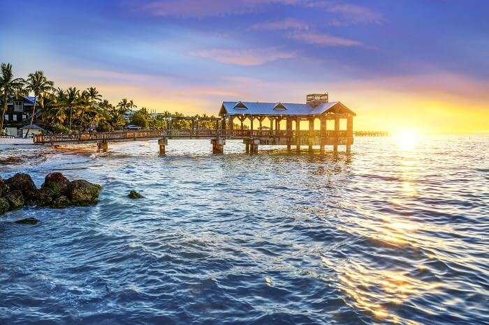 Pier at the beach in Key West in florida Keys