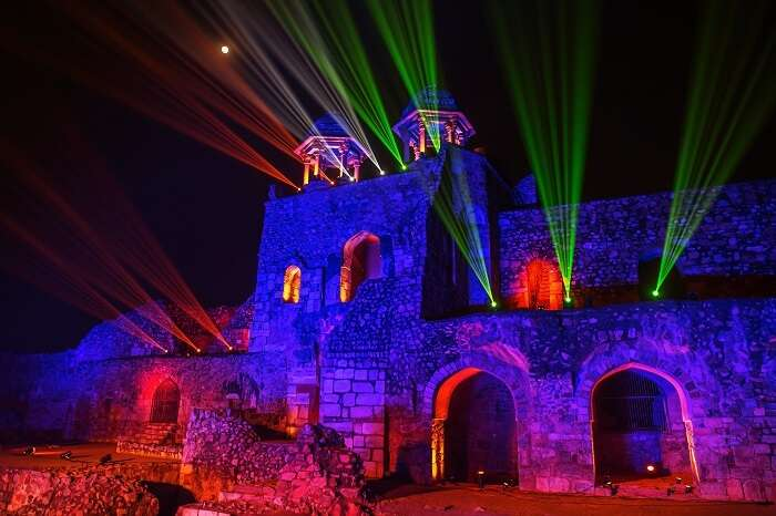 A light and sound show in the evening hours at Purana Qila in Delhi