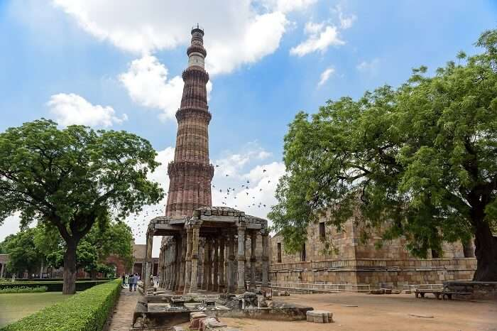 The ancient ruins at the Qutab Minar complex in Mehrauli that is one of the most famous places in Delhi for the history lovers