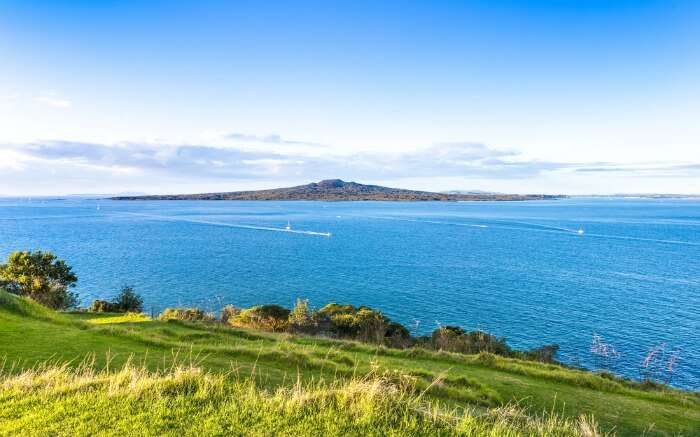 View of Rangitoto Volcanic cone from Devonport in Auckland
