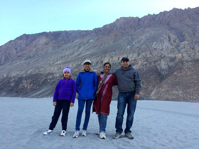 Manish and his family in Hunder