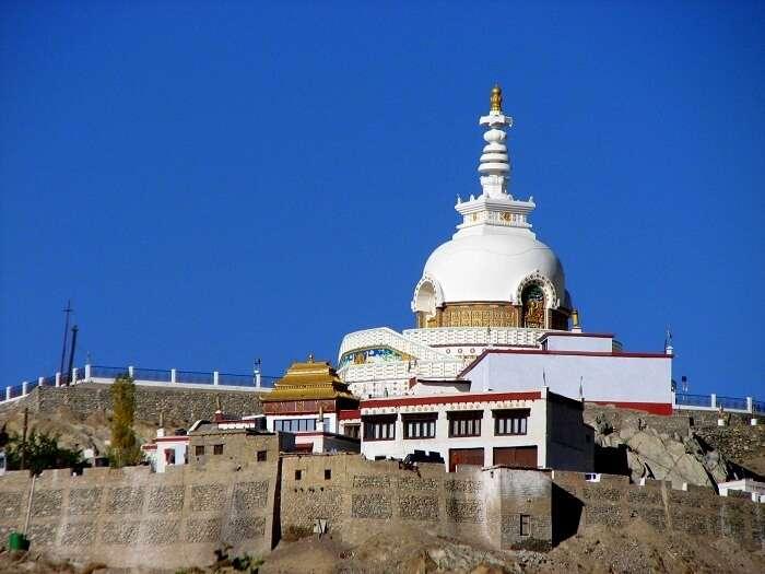 View of the Shanti Stupa in Leh
