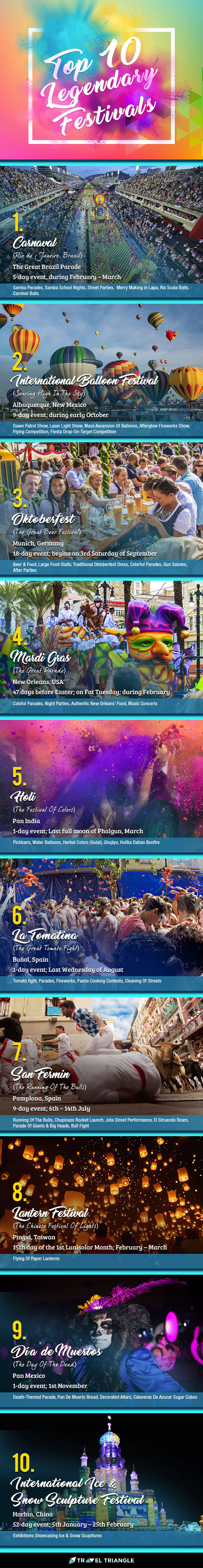 An infographic of the top 10 legendary festivals in the world