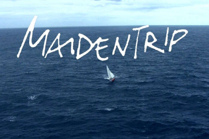 A ship crossing the ocean in a still from the documentary The Maidentrip