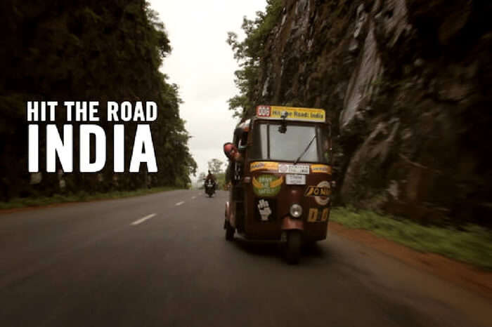 An autorickshaw in a still from the movie Hit the Road: India