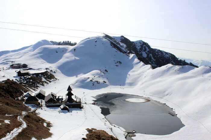 An aerial view of Prashar Lake after a fresh snowfall