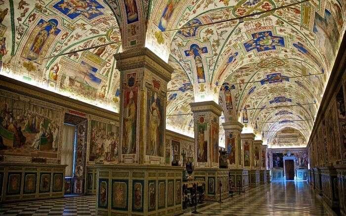 Interior of Vatican Museum in Rome