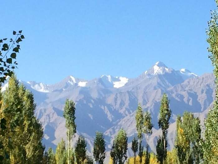 View of the Ladakh peaks from Hotel Room