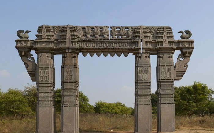 An ornate arched ruins in Warangal Fort