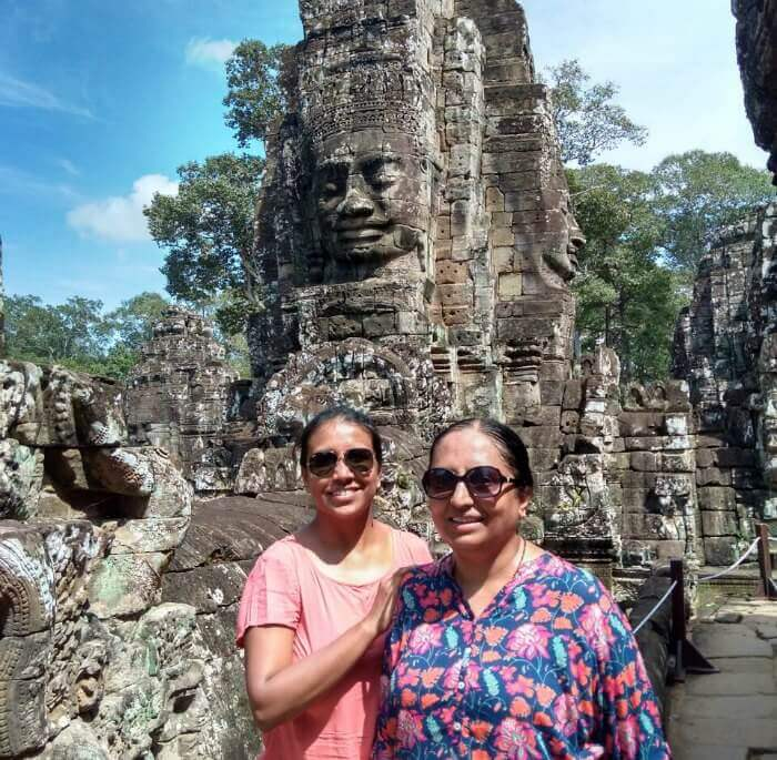 With my mom at Bayon Temple