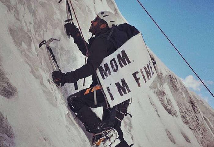 Jonathan Quiñonez mountain climbing in Bolivia
