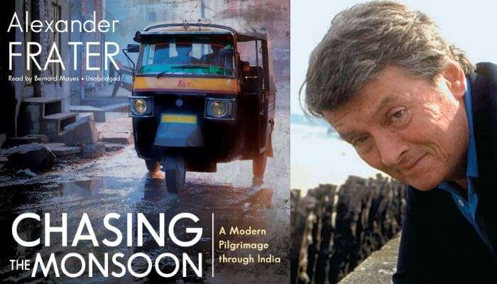 The book jacket and author of the book - Chasing The Monsoon