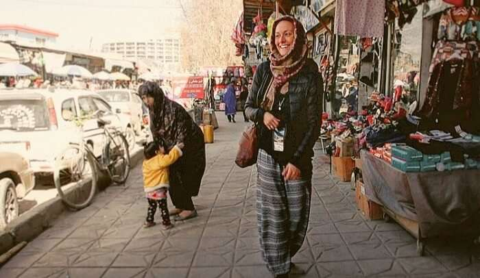 Cassie exploring the local market of Kabul