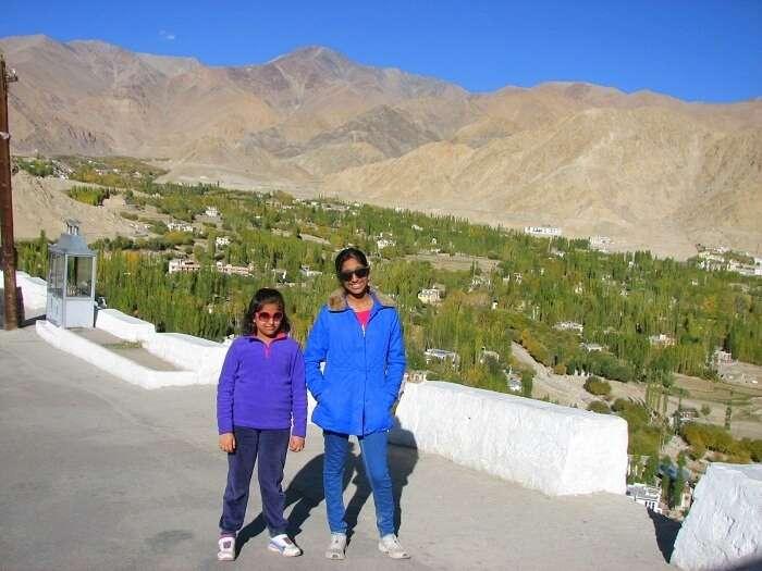 Manishs kids at Shanti Stupa