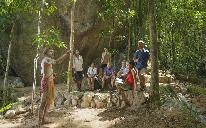 People during Ngradiku Dreamtime Walk in Australia