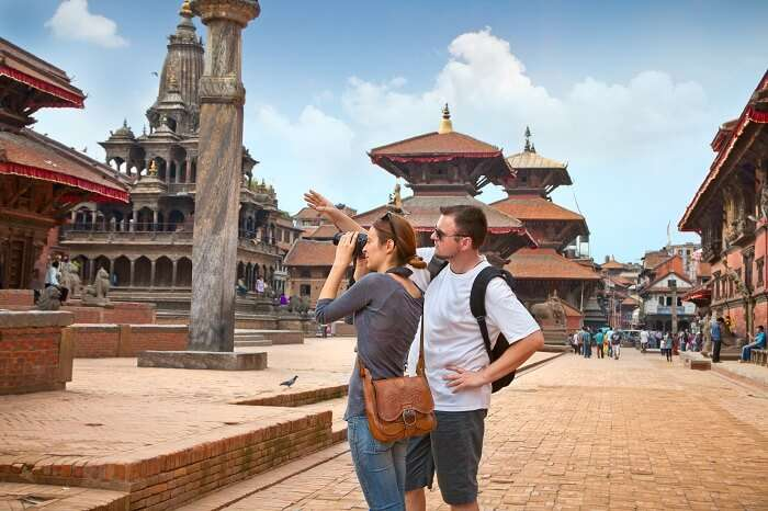 Beautiful young couple at Durbar Sqaure in Patan