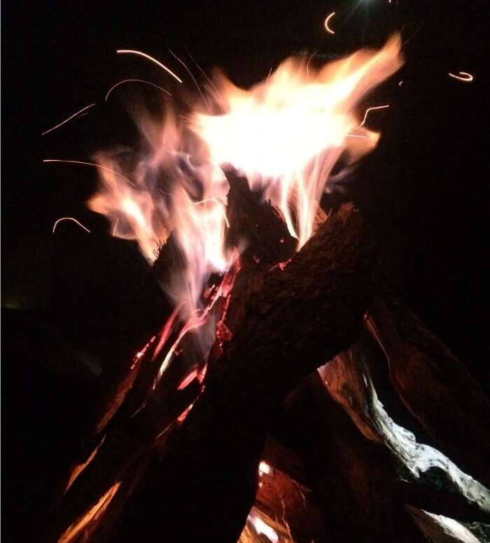 enjoying around a bonfire in bir