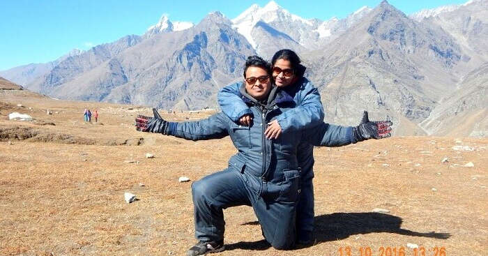 Tapan with his wife on a romantic trip to Himachal