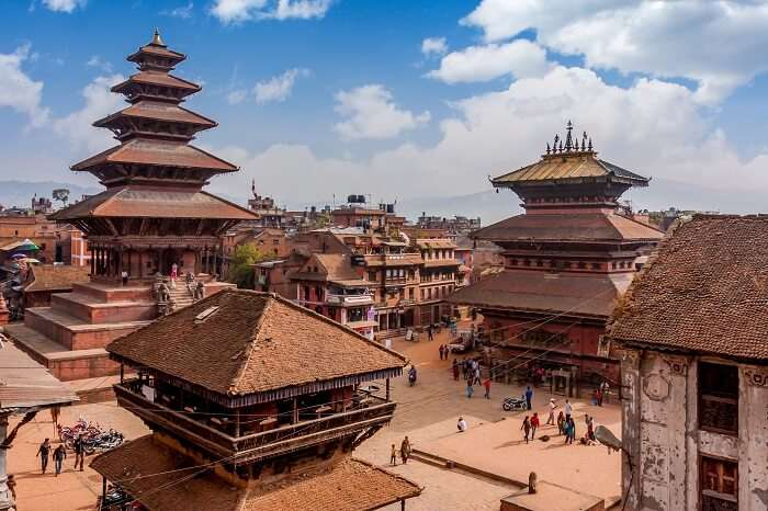 An aerial shot of the UNESCO World Heritage Site of Bakhtapur in the Kathmandu Valley in Nepal