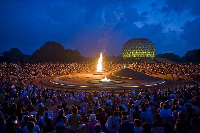Matrimandir in Auroville at night, puducherry