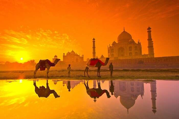 Taj Mahal view in the evening