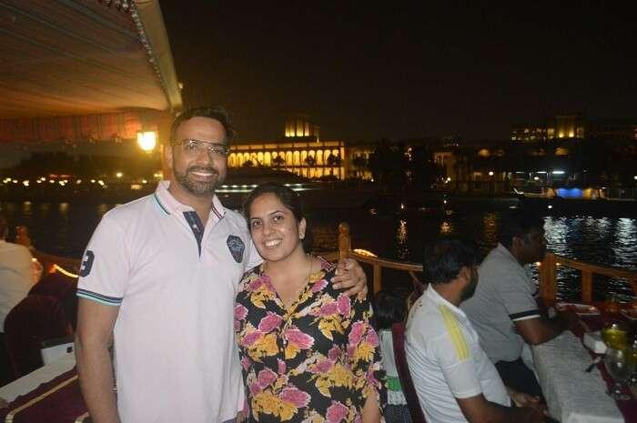 couple enjoying dinner on cruise in Dubai