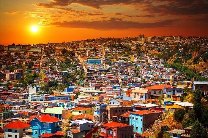 Colorful buildings on the hills of the UNESCO World Heritage city of Valparaiso in Chile